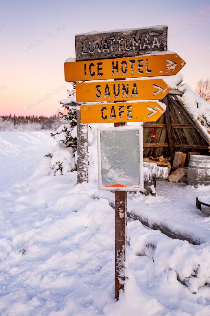Signage in snow in lapland