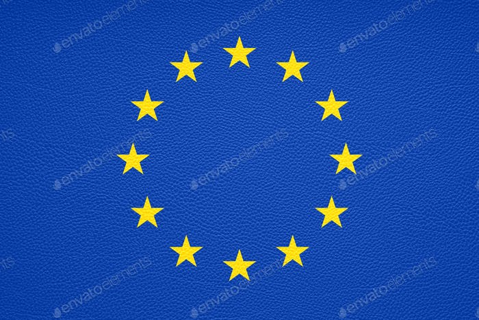 flag of Europe or European Union or EU with leather texture background