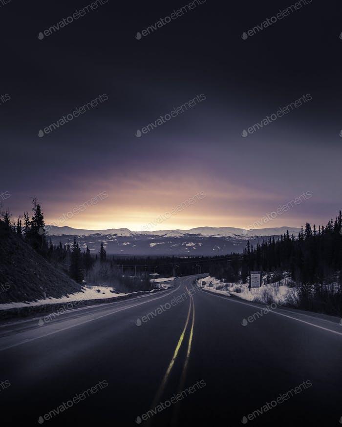 Alaska highway sunset