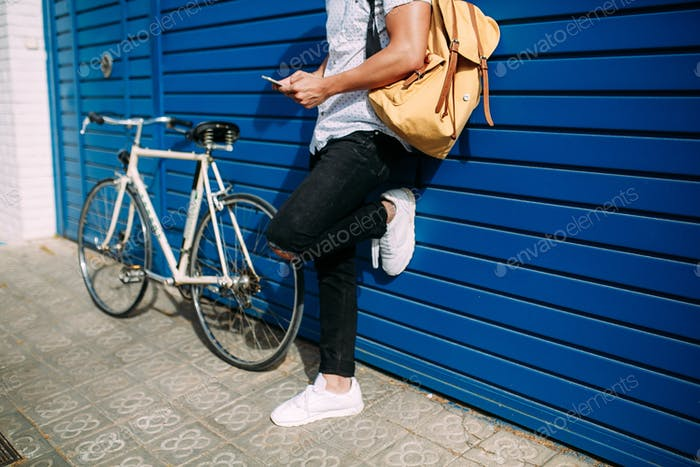 A guy with bicycle
