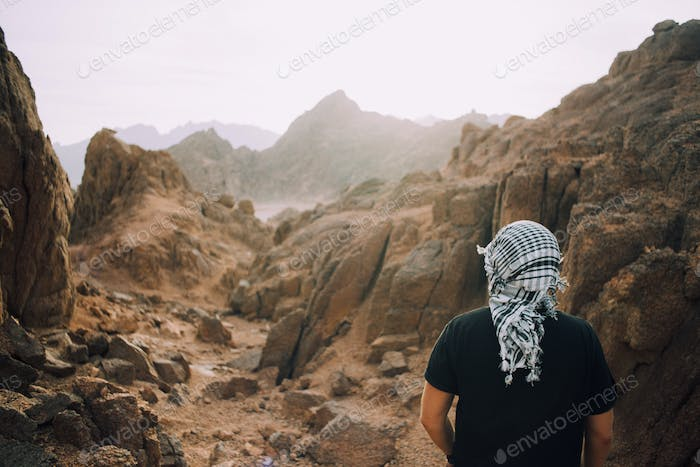 One person traveler in the mountains