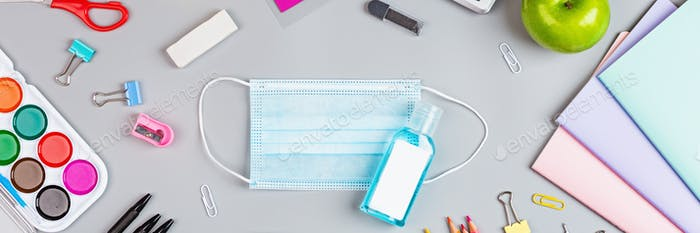 Horizontal banner for web Design of school supplies with protective face mask and hand sanitiser