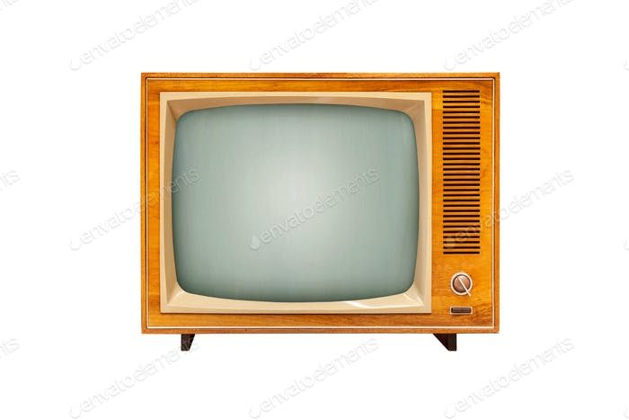 Vintage TV set isolated on white background, analog television technology