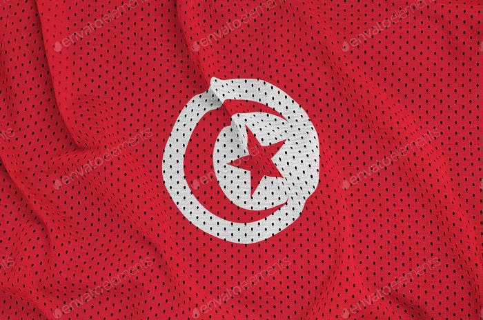 Tunisia flag printed on a polyester nylon sportswear mesh fabric with some folds