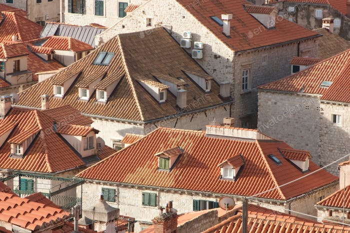 Architecture of rooftops in Dubrovnik