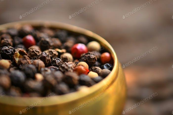 Black pepper in a bowl