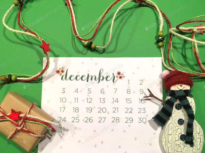 Dezember Kalender flach lag!