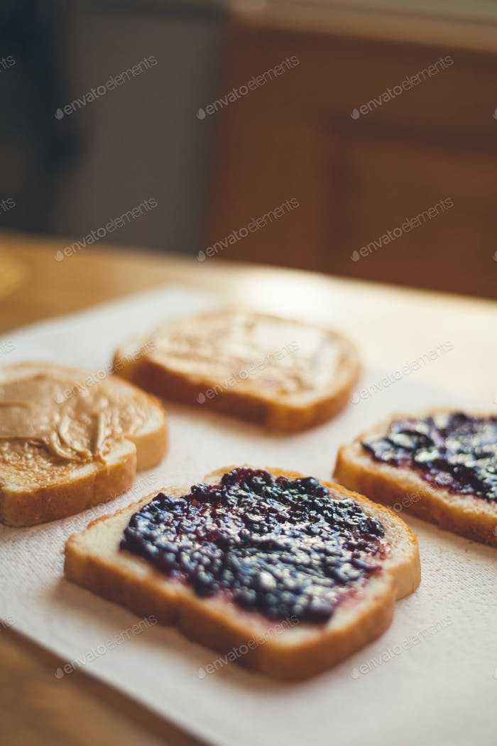 Peanut Butter and Jelly sandwich in the process of being made.