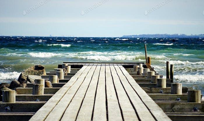 A wooden pier in Scandinavia