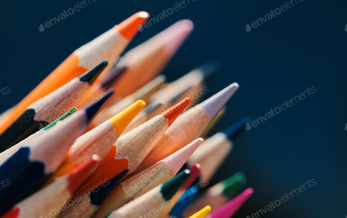 Close up view of sharpened color pencils