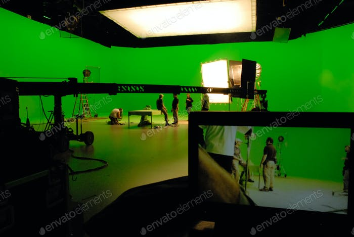 Movie production visual effects green screen stage