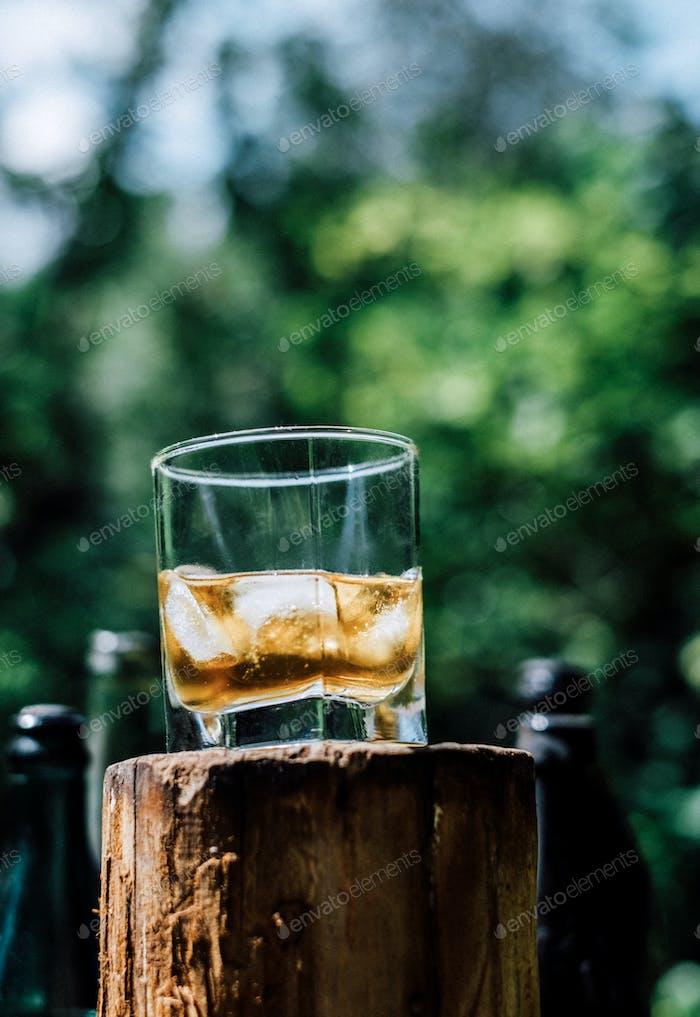 shot of a glass of scotch