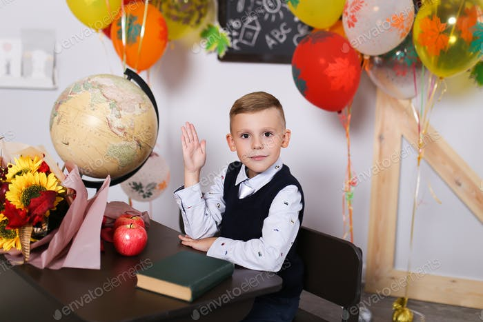Schoolboy boy sitting at the school Desk, school, lessons, September 1, holiday, learn, education