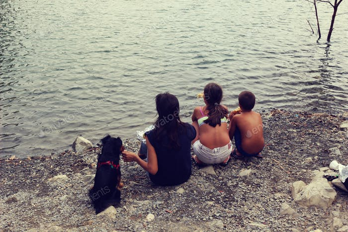 Family on the lake