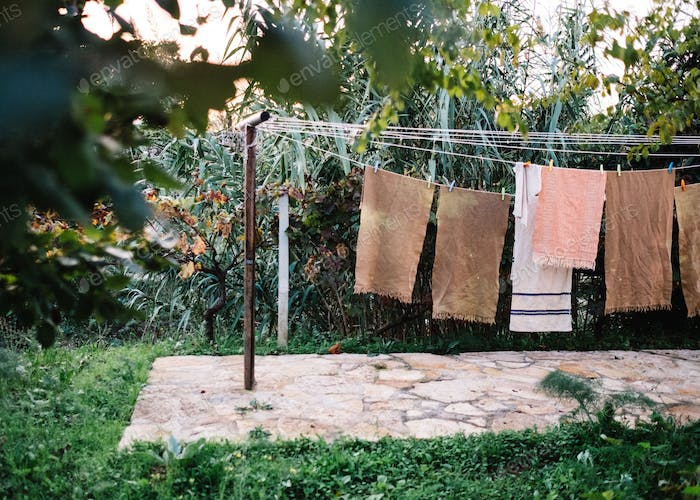Shot of clean laundry on a clothesline in Puglia - Italy
