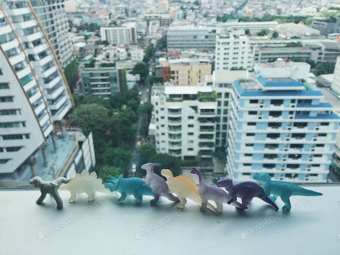 Dinosour in der Linie