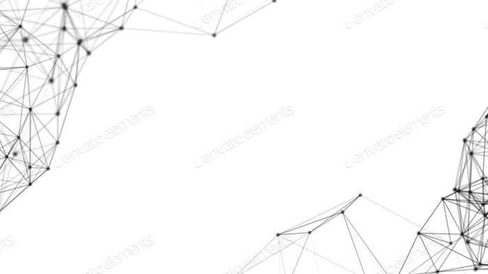 Negro digital de datos de computadora y conexión de red triángulo líneas y esferas en futurista