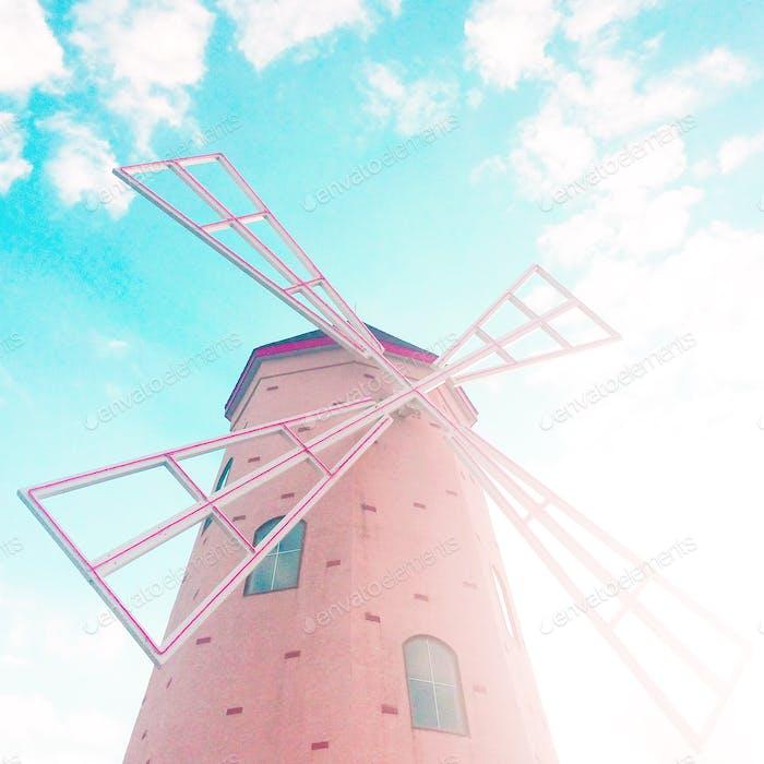 Molino de viento rosa Holanda primavera etéreo viaje