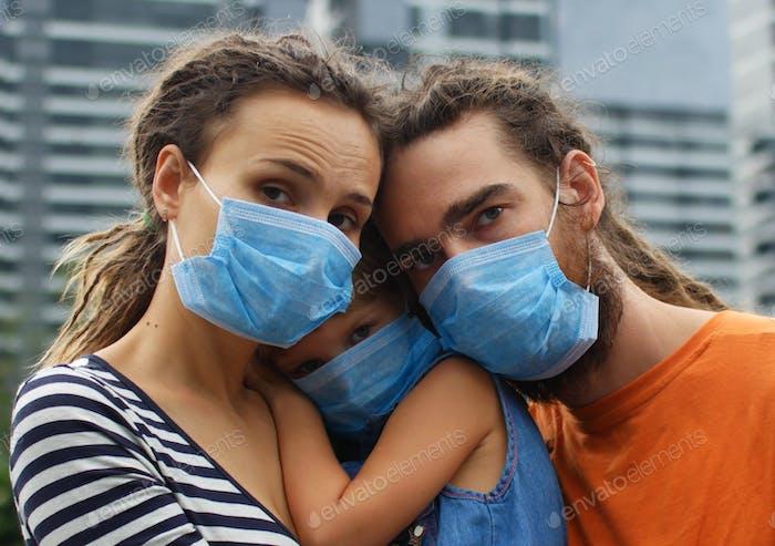 Medical masked family, virus outbreak