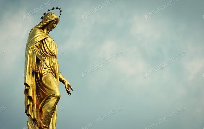 A golden sculpture