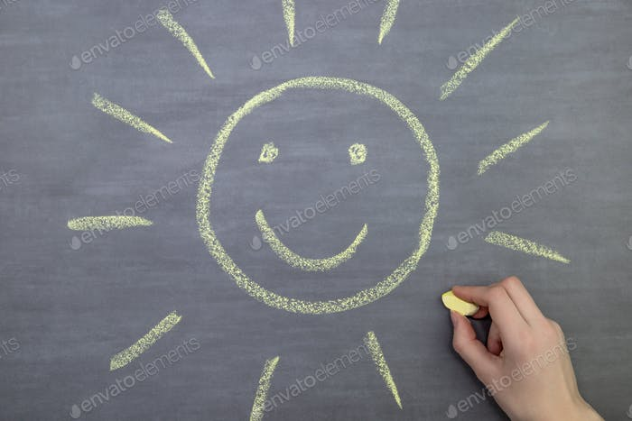 a child paints with yellow chalk a sun on a blackboard, art, childhood, image, weather, play, fun, o