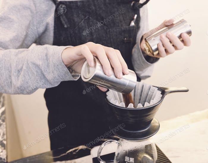 Making drip coffee