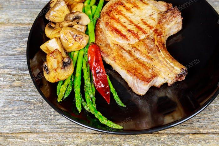 Grilled steak with Grilled striploin sliced steak