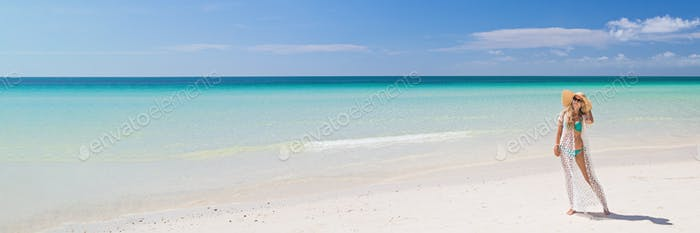 Horizontal long banner for web design with copy space of summer travel resort on sea