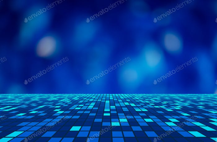 Virtual cyberspace reality room on blue background with bokeh in technology concept, 3d illustration