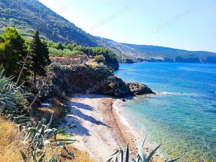 Beautiful coastline on island. Mediterranean, dalmatia, adriatic sea, beach, coast. Komiza, Croatia.
