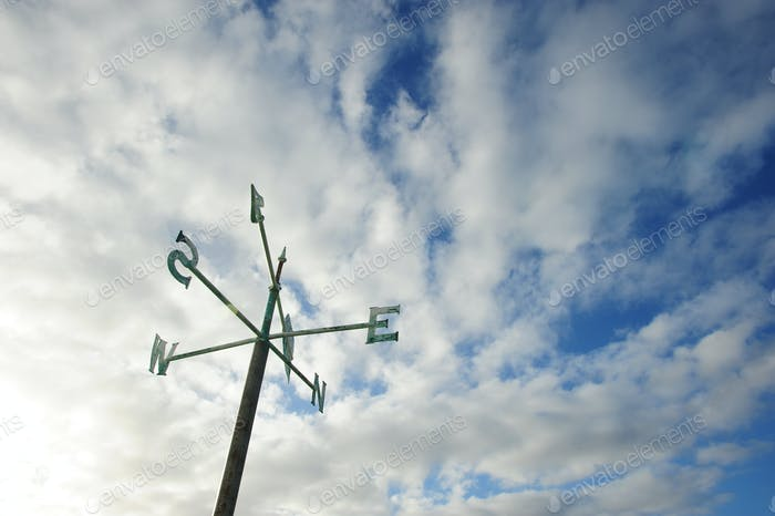 North south east west signpost again cloudy sky