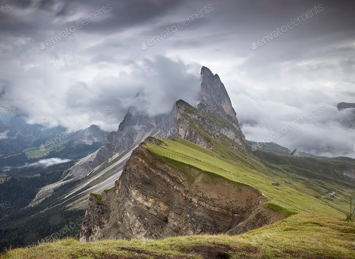 Breathtaking view of Seceda plateau, Dolomites, Italy.