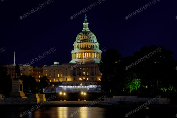 Panoramic of the Capital of the United States with the capital pool in light United States landmark.