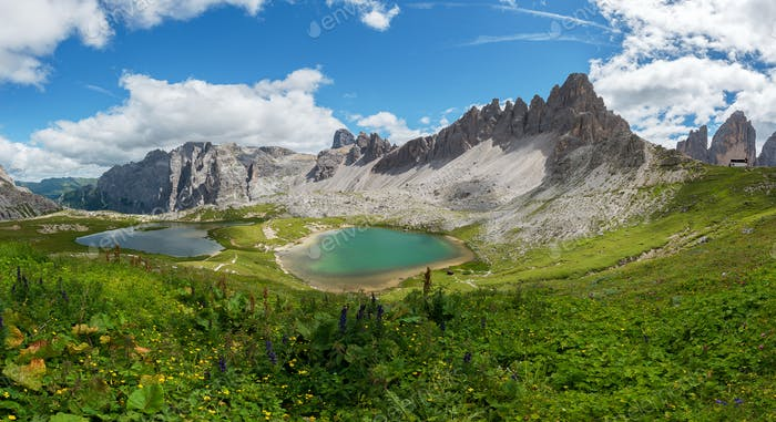 Beautiful mountain panorama in Dolomites mountains by Tre Cime di Lavaredo.