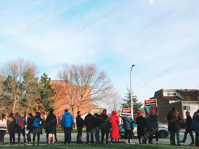 Teachers protesting government cuts in Aurora, Ontario Canada in November 2019