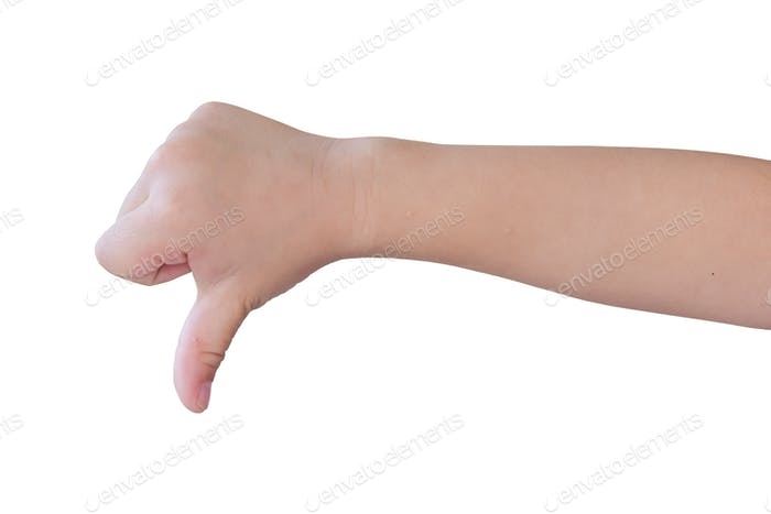 child hand shows thumb down isolated on white background, with clipping path.