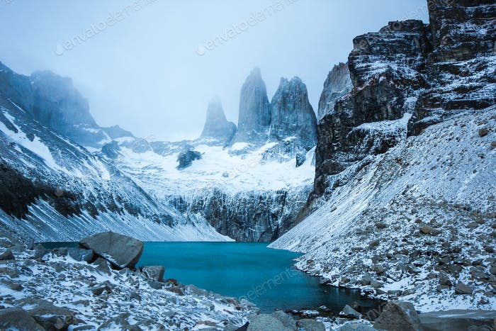 Freezing early morning view at Torres del Paine, Chile