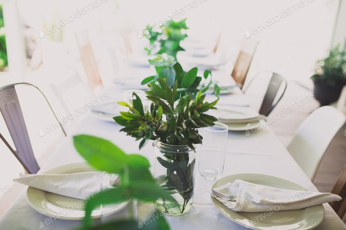 Table set up for hosting dinner party