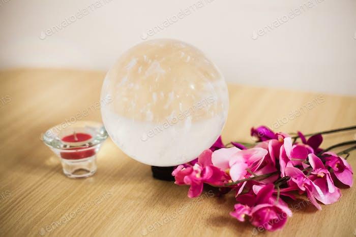 Large round ball of ornamental stone, transparent stone, divination stone, interior decoration
