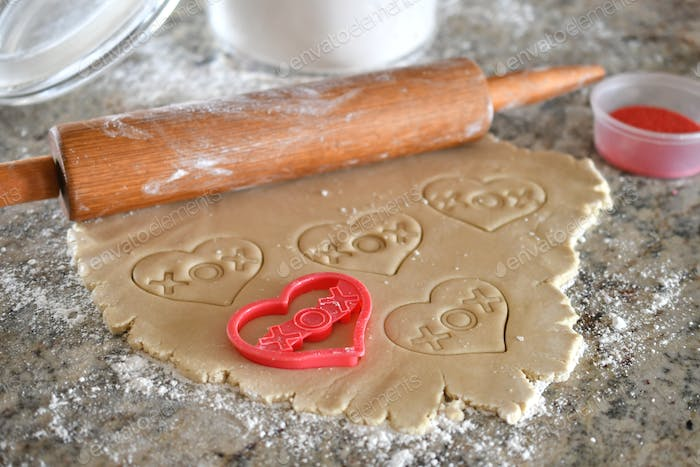 Homemade heart-shaped cutout cookies for my favorite Valentines