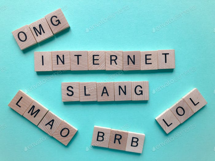 Internt Slang, word surrounded by acronyms, LOL, LMAO, OMG and BRB isolated on blue background