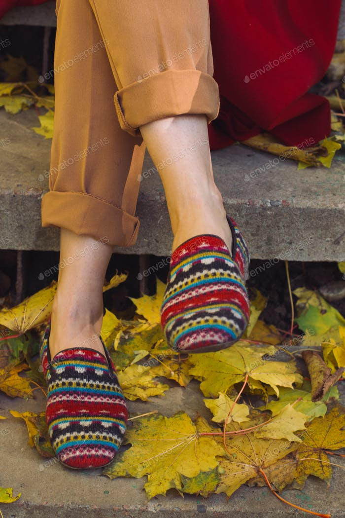 Loafers on autumn steps