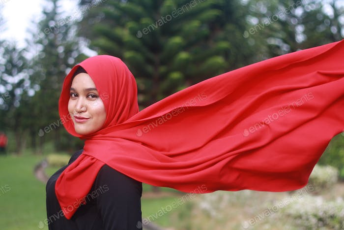 Lady in red scarf