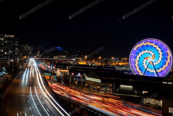 Long exposure night waterfront