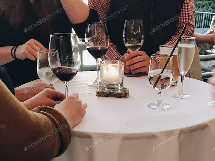 Enjoying wine with good conversation