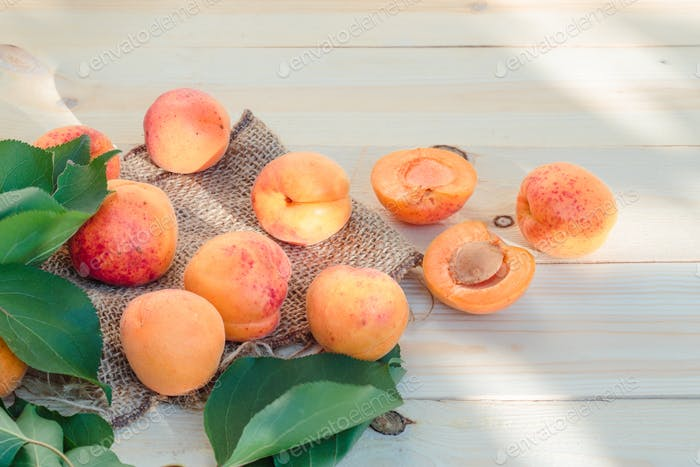 Fresh apricots straight from home garden on wooden table
