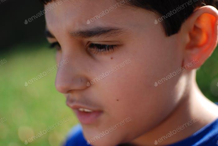 Adolescent boy focused