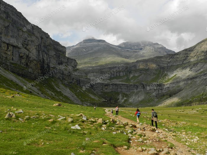 Hikers at Ordesa, Spain