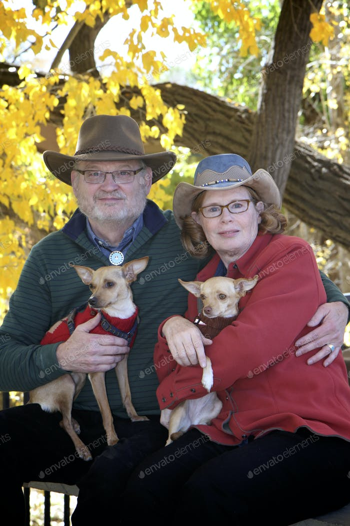 Southwest Couple with Two Dogs