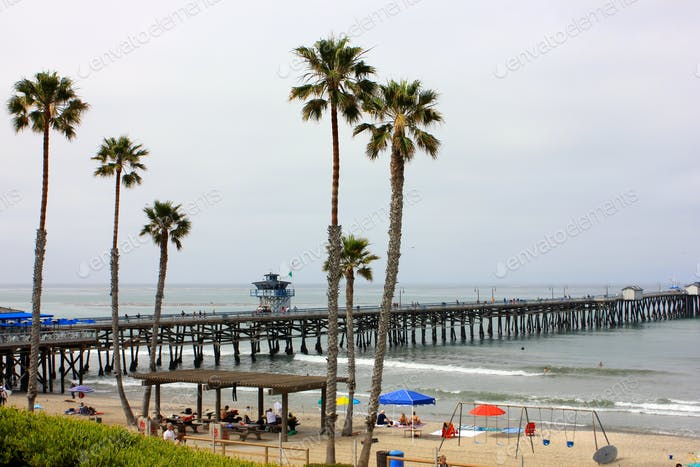 Beautiful beach view of san clemente, Orange County pier